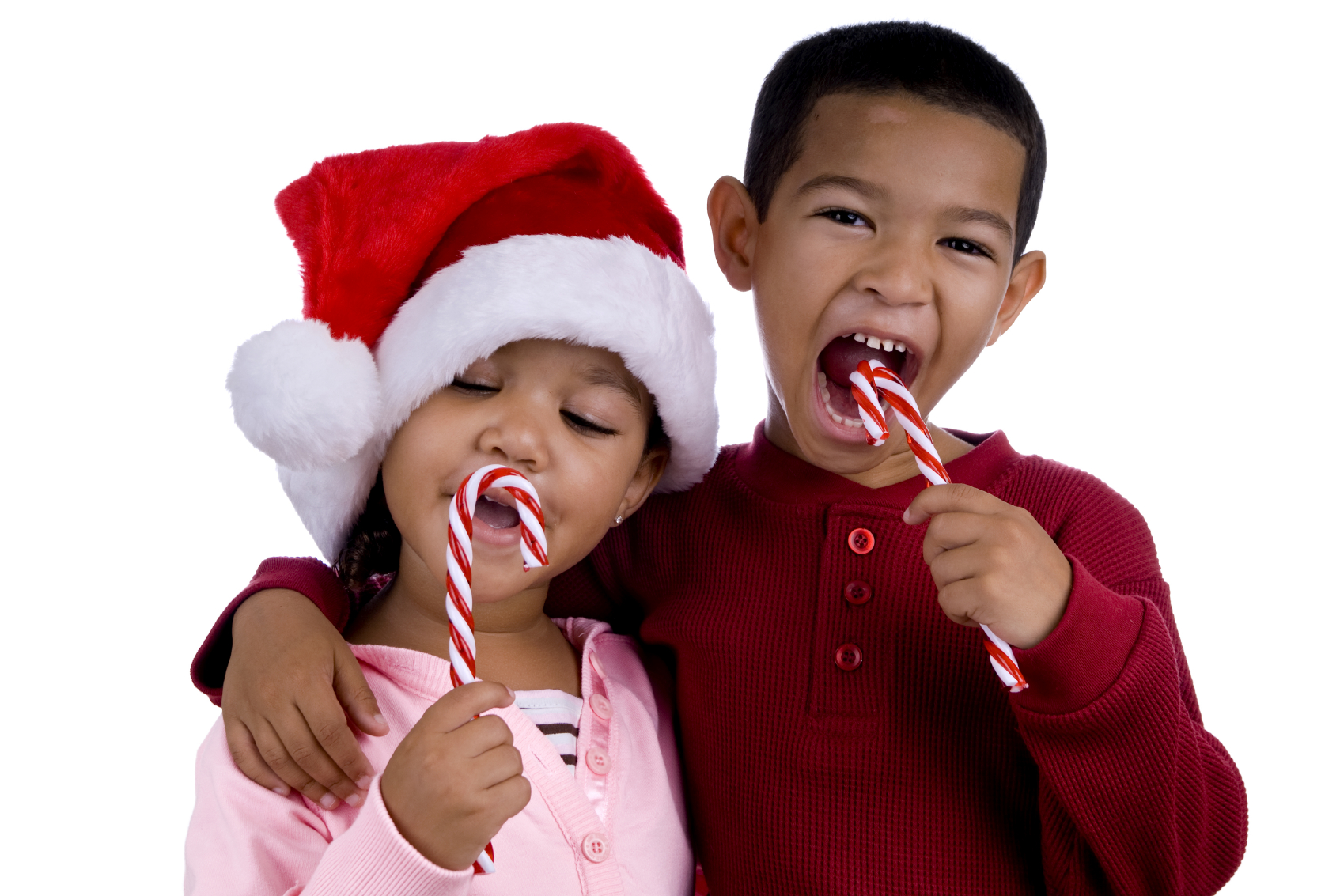 Kids with candy canes