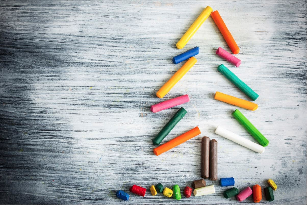 christmas tree with chalk